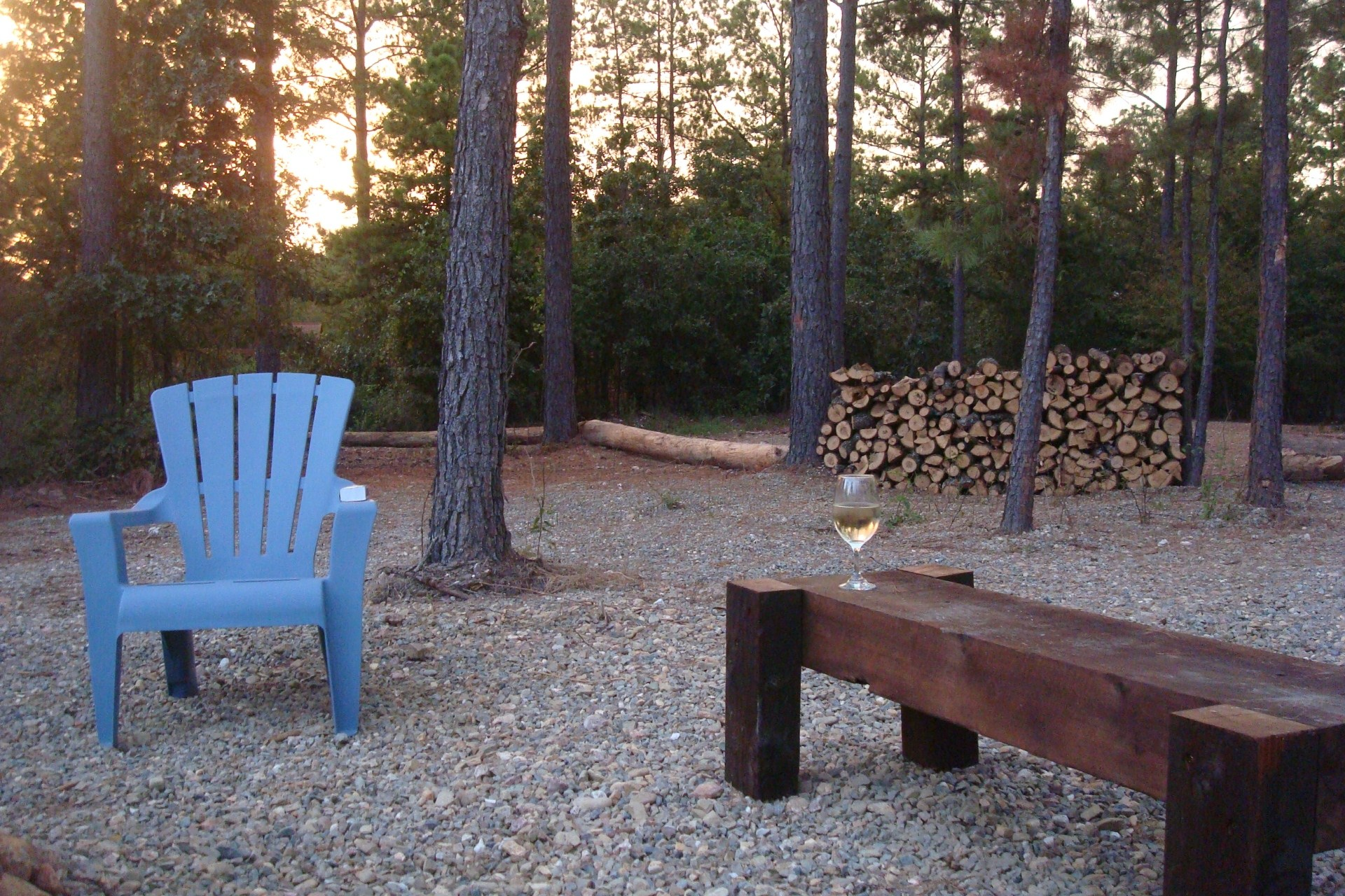 Glass of Wine at Sunset at Pine Knot Cabins