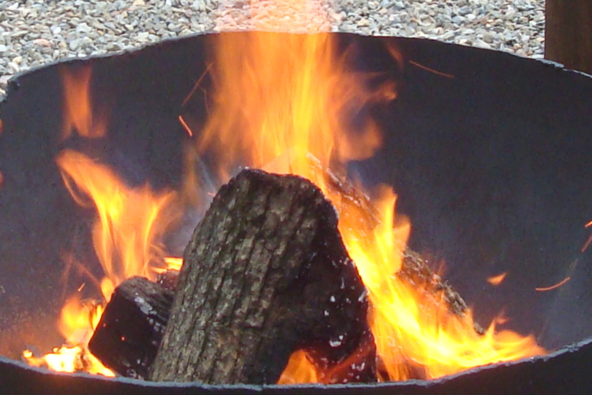 Roaring Firepit With Pine Knot Cabins